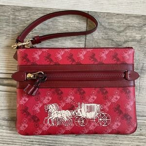 Coach Gallery Horse and Carriage Print Pouch Red